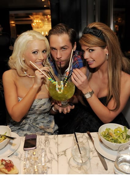 Holly Madison, Josh Strickland and Laura Croft attend the grand opening of Sugar Factory American Brasserie