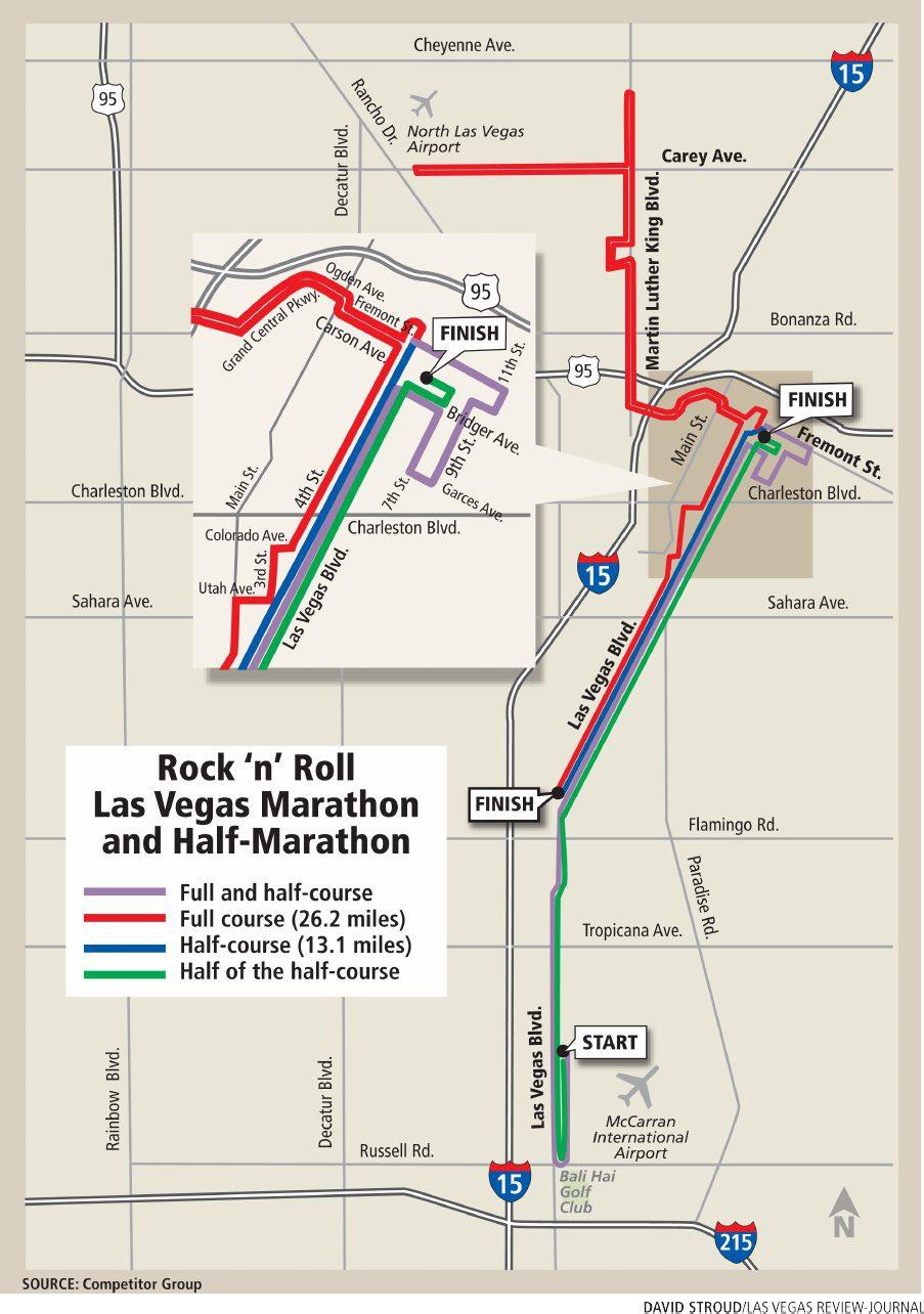Rock 'n' Roll Las Vegas Marathon & 1/2 Marathon Map