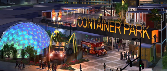 the downtown las vegas container park is now open travelivery. Black Bedroom Furniture Sets. Home Design Ideas
