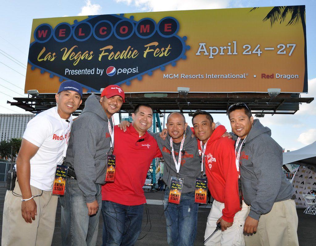 Red Dragon celebrates a successful Las Vegas Foodie Fest (L:R Marc Tolentino, Oliver Tolentino, Ranier Galgana, Arthur De Joya, Noel Casimiro and Art Casimiro)
