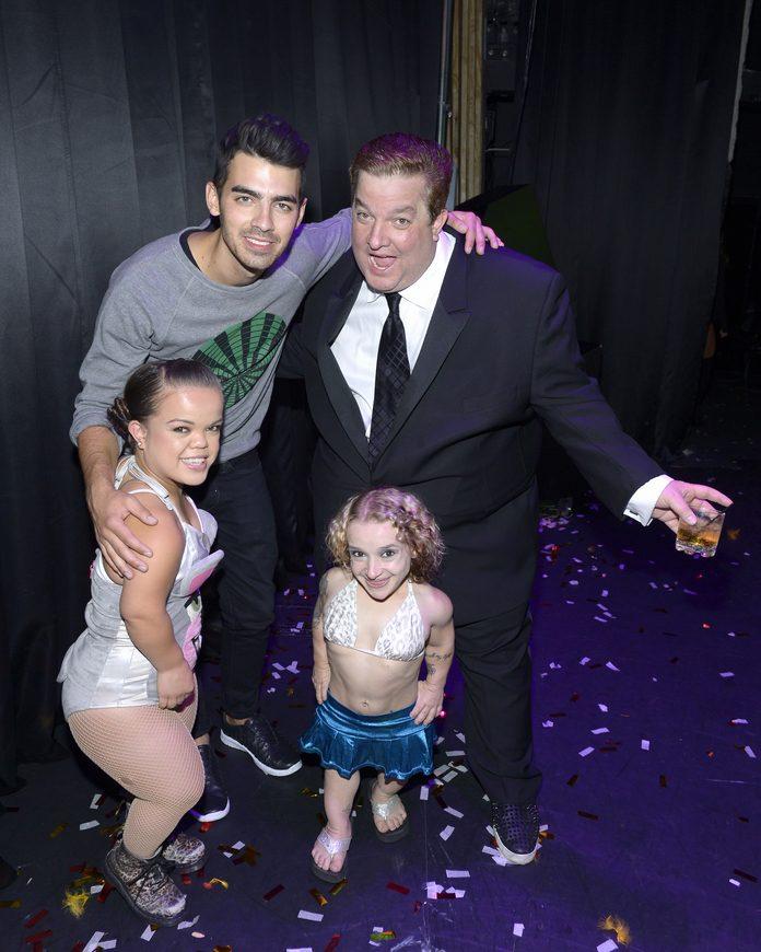 Joe Jonas with World's Smallest  Stripper, Mini Miley Stripper and Jeff Beacher