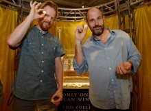 Co-Authors James Frey and Nils Johnson-Shelton stand in front of $500,000 of gold coins at Caesars Palace.