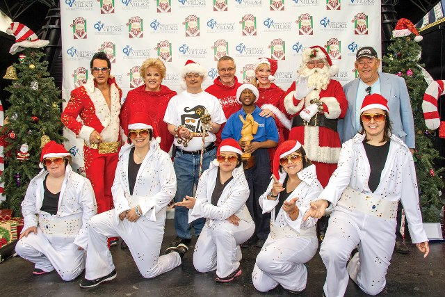 Mayor Carolyn Goodman joins  representatives and clients of Opportunity Village at the Great Santa Run Media Preview