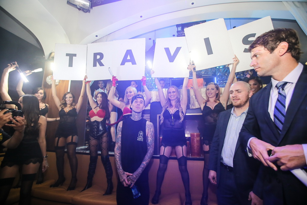Travis Barker inside Hyde Bellagio, Las Vegas