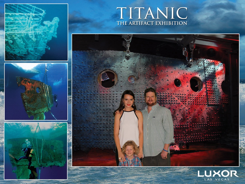 Rochelle Rose & Family in front of The Big Piece at Titanic The Artifact Exhibition