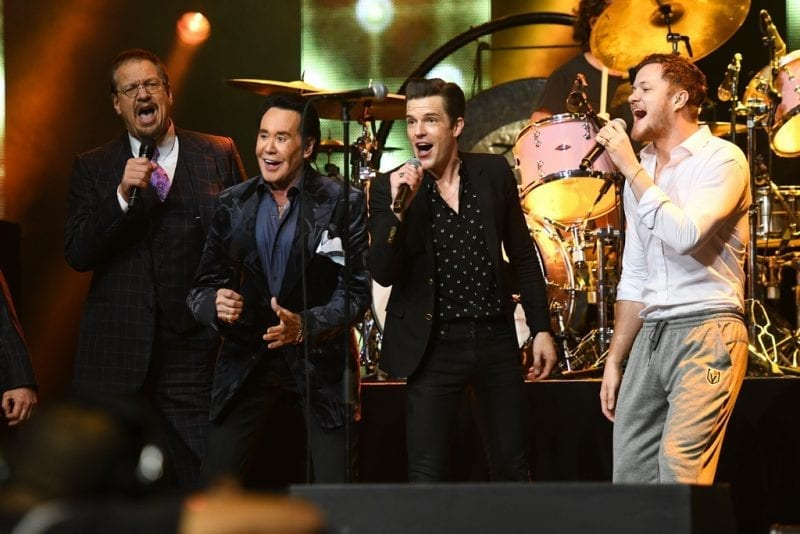 Penn Jillette, Wayne Newton, Brandon Flowers and Dan Reynolds at Vegas Strong Benefit Concert
