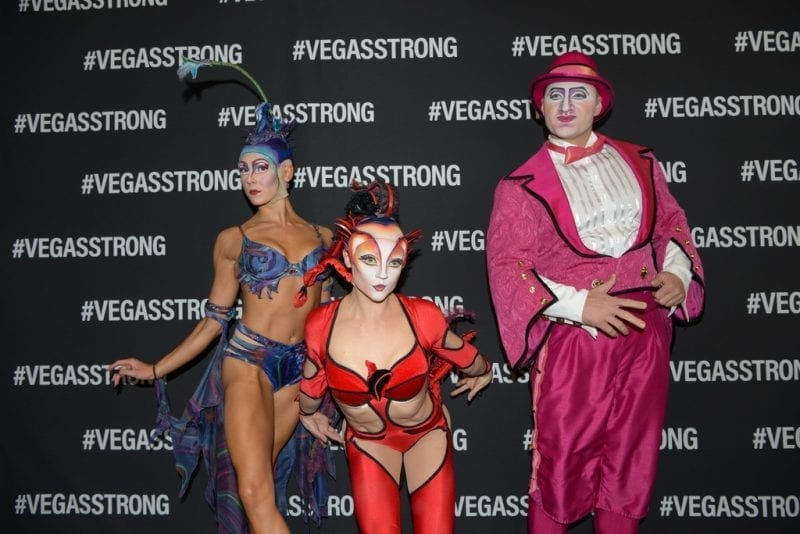 Performers from Cirque du Soleil's Mystere at Vegas Strong Benefit Concert
