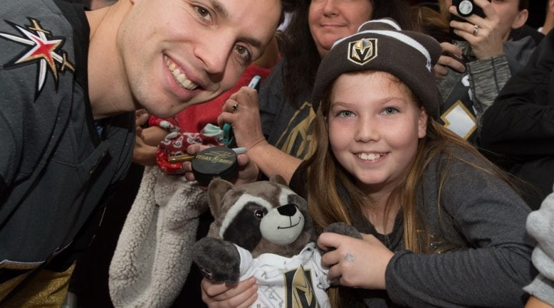 Left Wing David Perron Poses with a Fan on Fremont Street