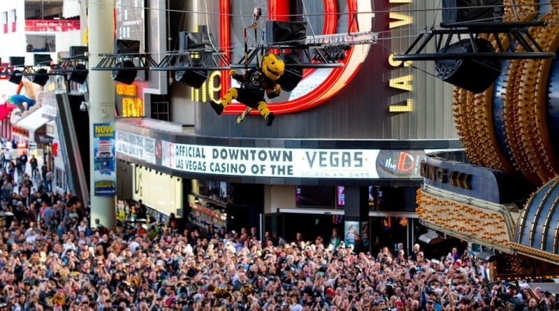 VGK Team Mascot, Chance, Soars Above the Downtown Crowd at Fan Fest