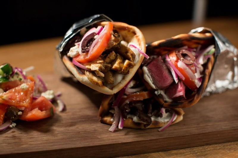 Greek Sneek Steak and Chicken Pitas