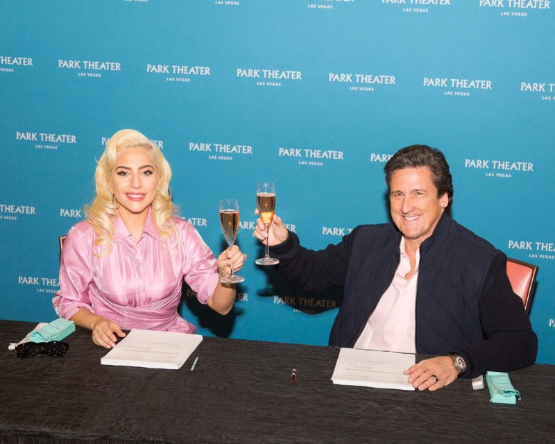 Lady-Gaga-and-MGM-Resorts-International-President-Bill-Hornbuckle-toast-to-the-artist's-two-year-engagement-at-Park-Theater-in-Las-Vegas.-Credit_-Alex-Dolan