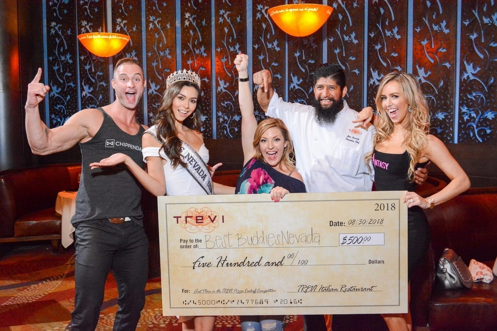 James Davis, Carolina Urrea, Courtney Perna, Chef Jose Navarro and Mariah Rivera at TREVI Charity Pizza Cook Off