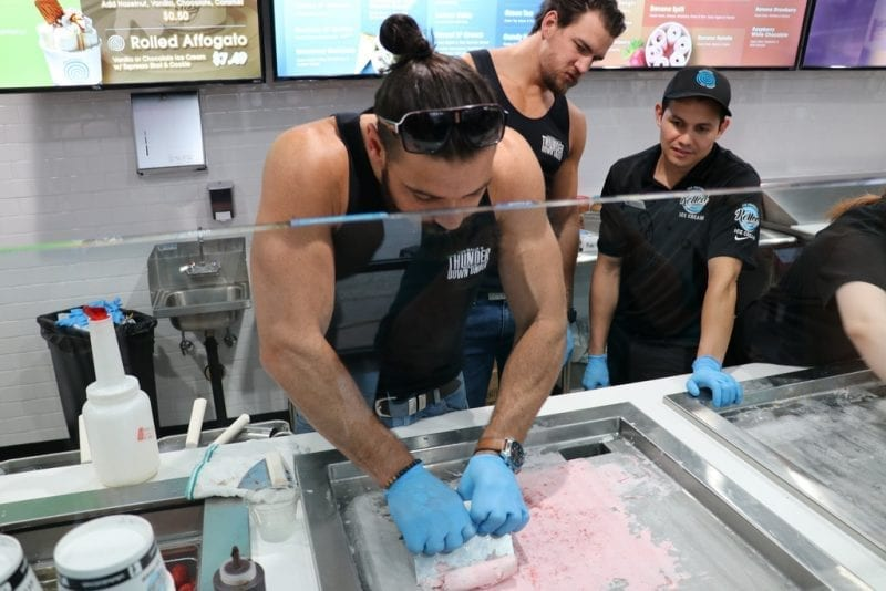 Thunder From Down Under focuses on rolling his ice cream