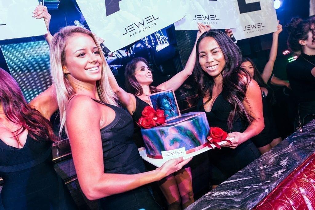 JEWEL Nightclub at ARIA Resort & Casino presents celebatory cake to Fifth Harmony's Dinah Jane_ Photo Credit Sam Hamoui
