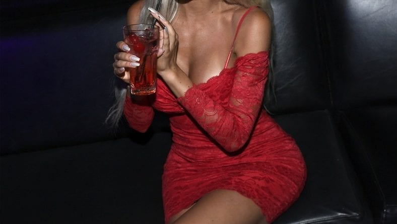 Farrah Abraham enjoying Crazy Horse 3 Grilled Chicken Sandwich and Shirley Temple