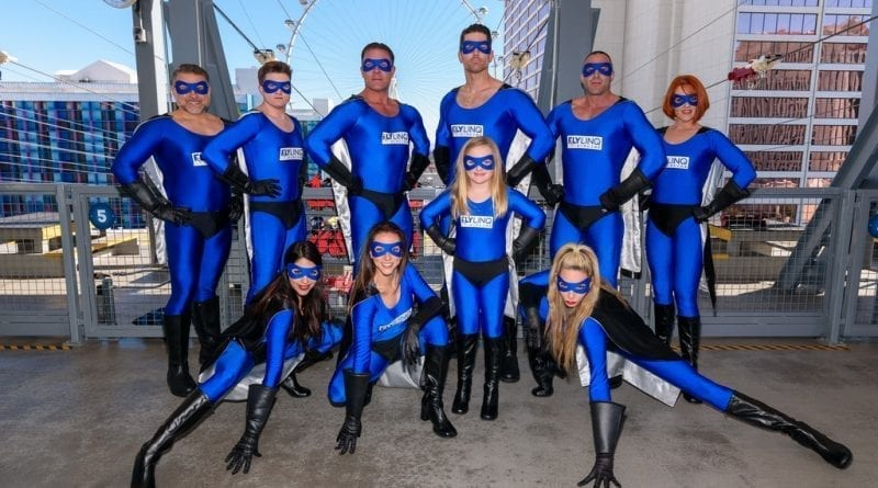 """Superheroes"" Become the First to Fly into the New Year at the Brand-New FLY LINQ Zipline in Las Vegas. (Photo Courtesy of FLY LINQ)"