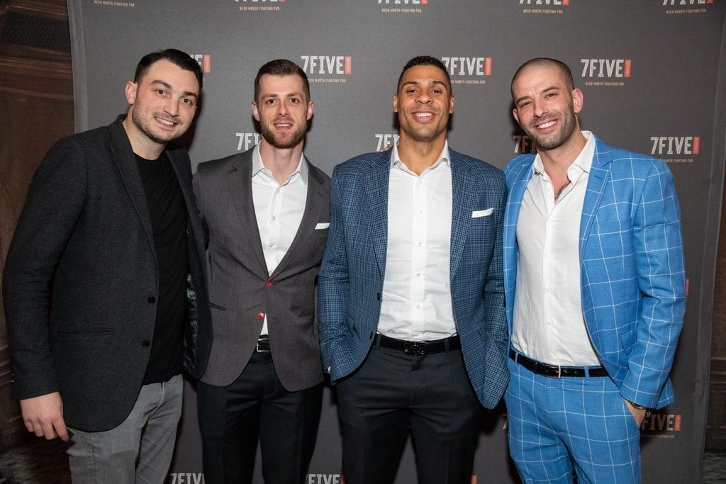 Adam Coates, Ryan Reaves and Darcy Oake celebrate the launch of 7Five Brewing Co. at Hyde Bellagio in Las Vegas, 2.23.19
