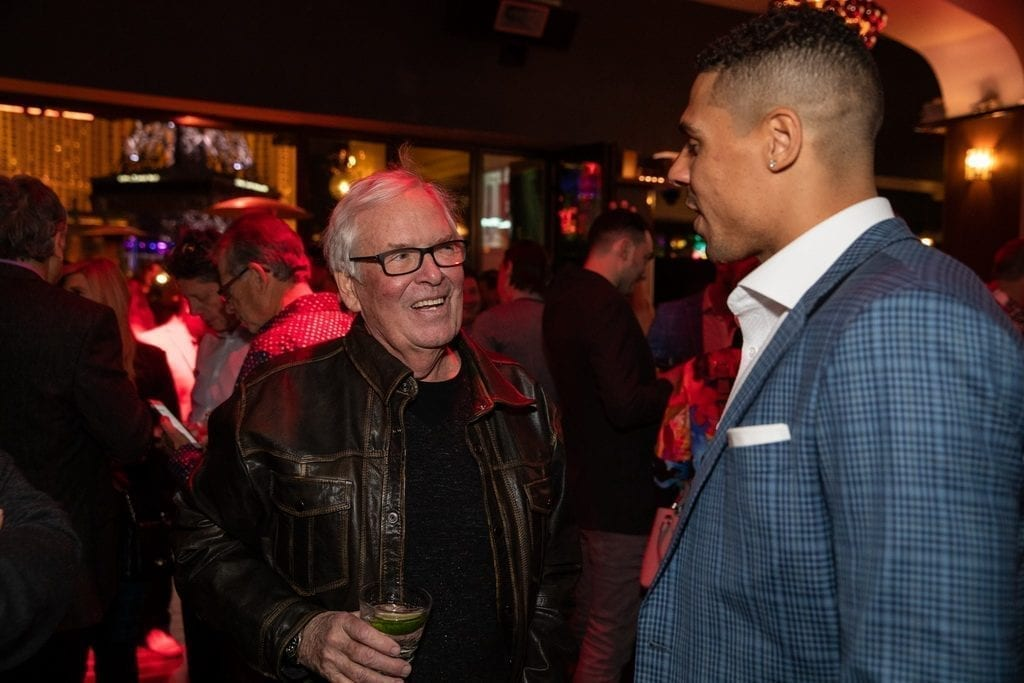 Bill Foley and Ryan Reaves celebrate the launch of 7Five Brewing Co. at Hyde Bellagio in Las Vegas, 2.23.19