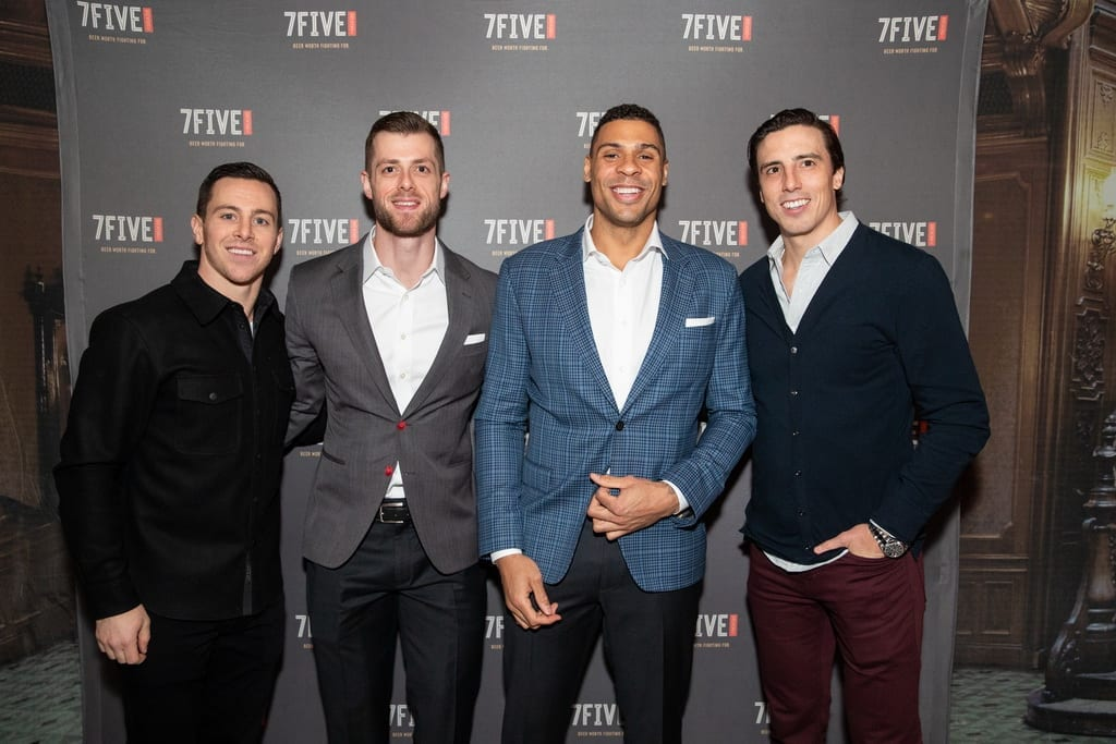 Jonathan Marchessault, Adam Coates, Ryan Reaves and Marc-Andre Fleury at the launch of 7Five Brewing Co., 2.23.19