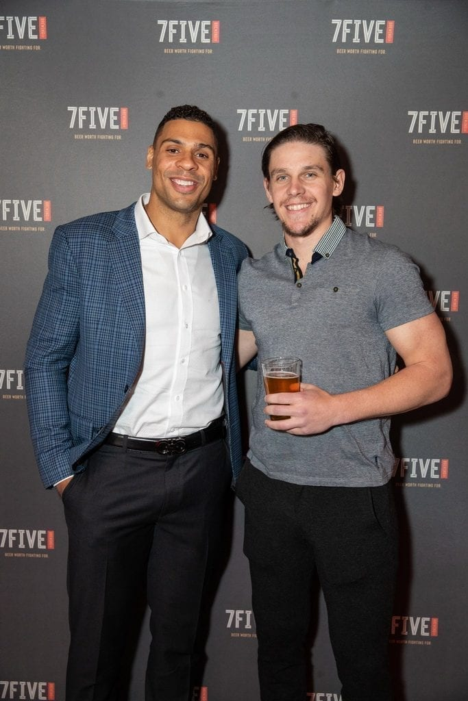Ryan Reaves and Erik Haula at the launch of 7Five Brewing Co. at Hyde Bellagio in Las Vegas, 2.23.19