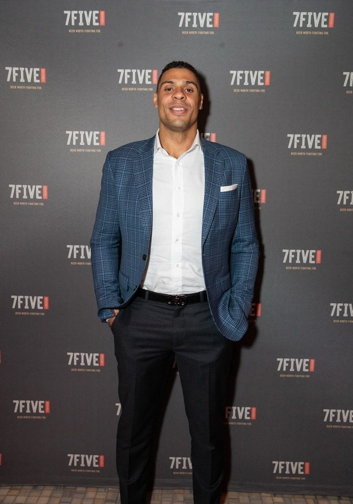 Ryan Reaves celebrates the launch of 7Five Brewing Co. at Hyde Bellagio in Las Vegas, 2.23.19