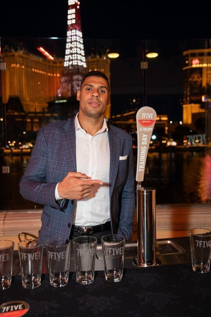 Ryan Reaves introduces Training Day golden ale the launch of 7Five Brewing Co. at Hyde Bellagio in Las Vegas, 2.23.19