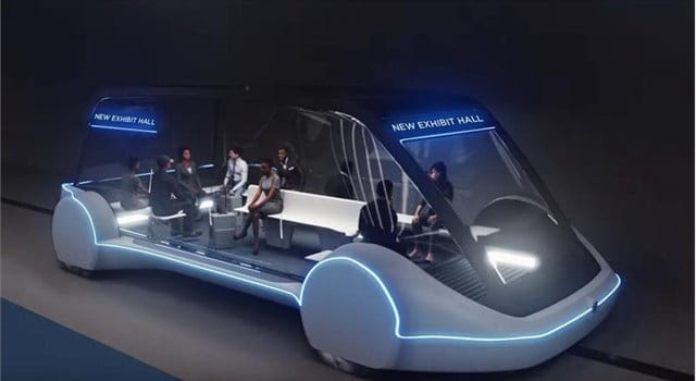 High-Occupancy Autonomous Electric Vehicle (AEV) running between Exhibit Halls. Courtesy The Boring Company