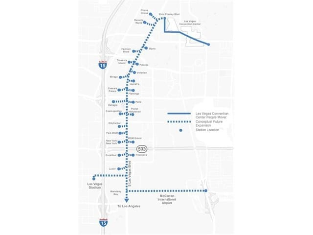 Map of potential future expansion (light). Courtesy The Boring Company.