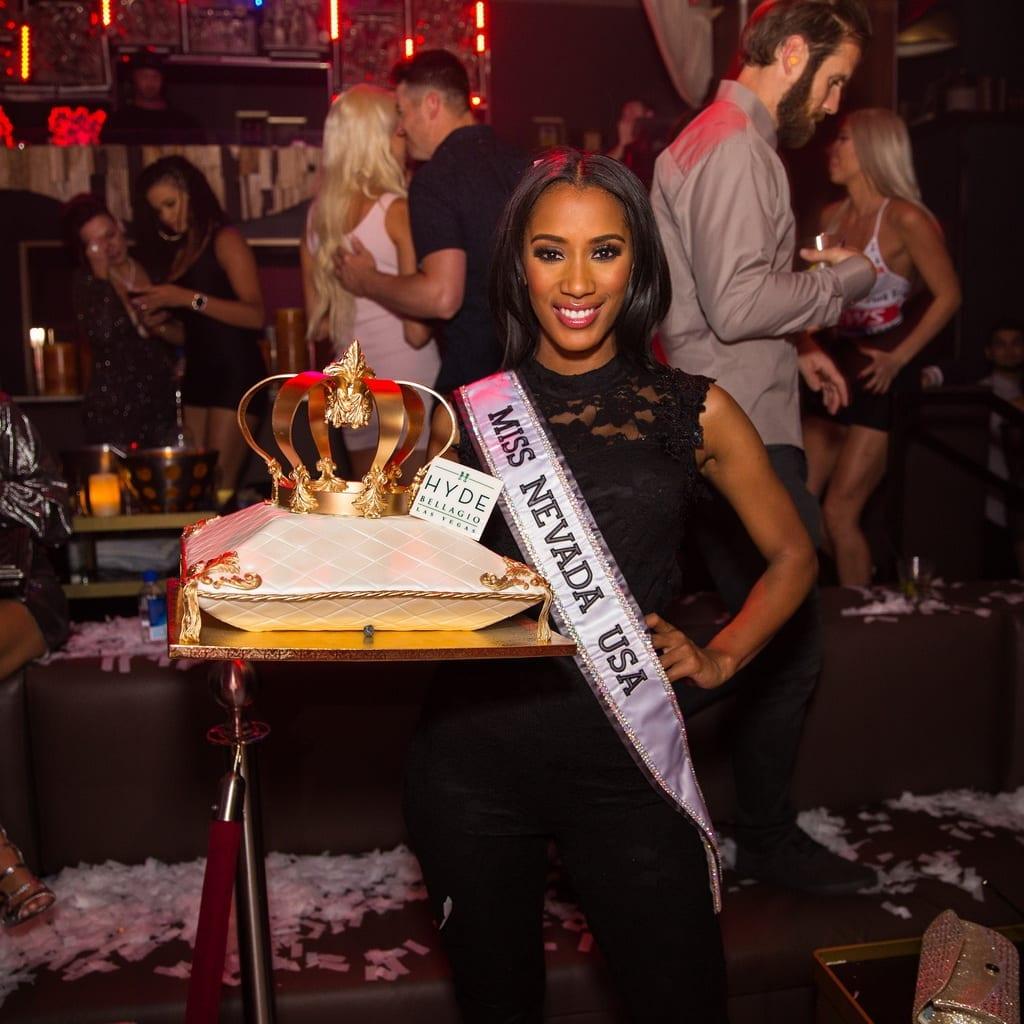 Miss Nevada USA Tianna Tuamoheloa With Cake at Hyde Bellagio