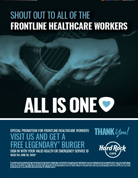 Hard Rock Cafe - Frontline Healthcare Workers Offer