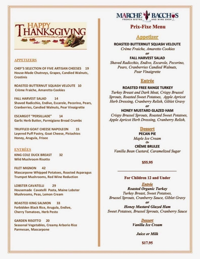 Marché Bacchus Thanksgiving Menu 2020
