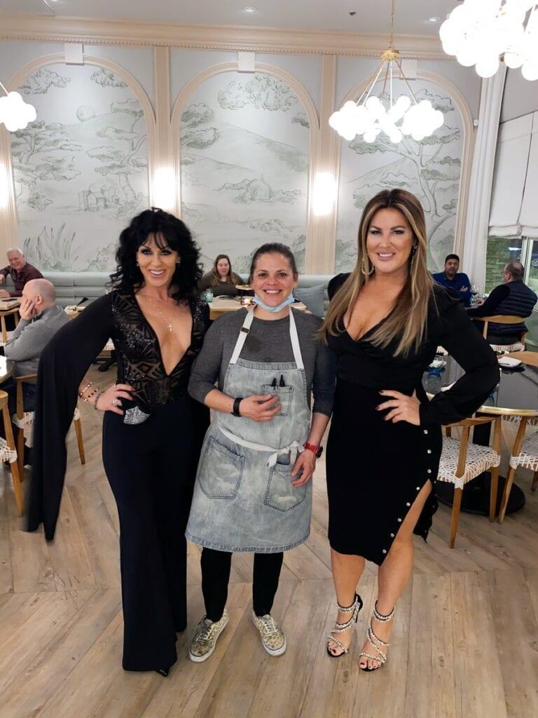 Emily Simpson and Jennifer Romas with La Strega's Executive Chef and Partner Gina Marinelli