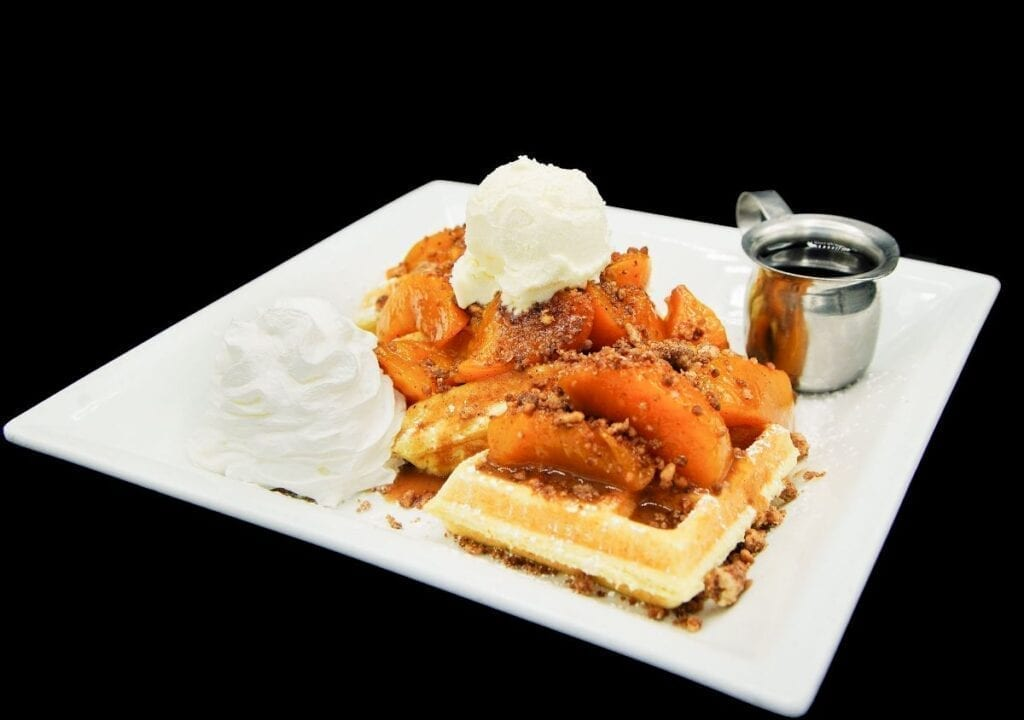 Peach Cobbler Waffle at Distill and Remedy's