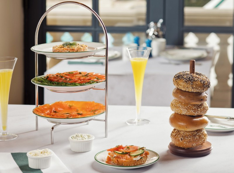Sadelles-House-Salmon-and-Salmon-Salad-Tower-with-signature-bagels