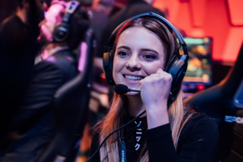 Local-gamer-Chelsea-Maag-celebrates-after-playing-the-first-game-at-Esports-Arena-Las-Vegas