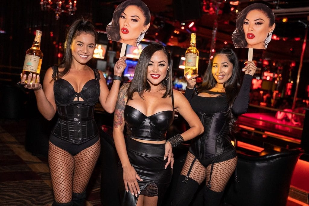 Kaylani Lei with Bottle Service Presentation and Oversized Cutouts of Head