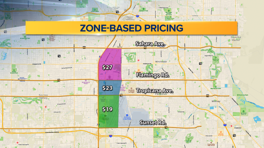 Las Vegas Taxi's Zone Based Pricing Map